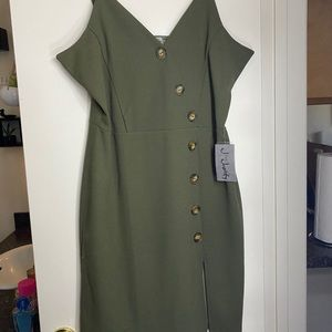 Olive green body con dress